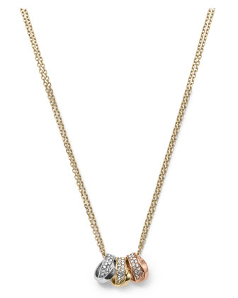 3-Ring Double Necklace, Tri-Tone