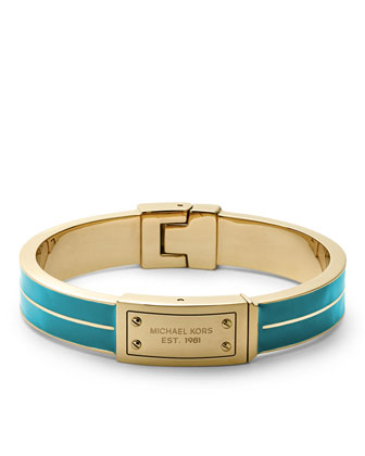 Plaque Hinge Bangle, Golden/Turquoise
