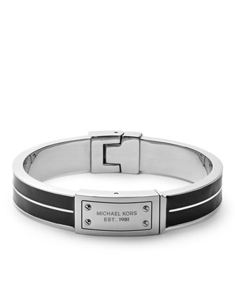 Plaque Hinge Bangle, Black/Silver Color