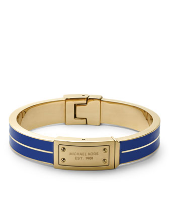Plaque Hinge Bangle, Golden/Blue
