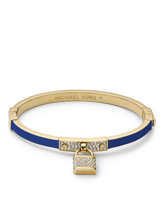 Pave Padlock Hinge Bangle, Golden/Blue