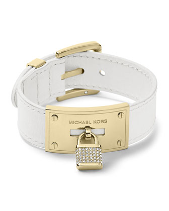 Leather Wrap Padlock Bracelet, Golden/White