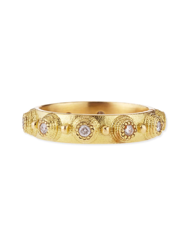 18k Yellow Gold Diamond Bezel Stackable Ring   Armenta   Gold (6)