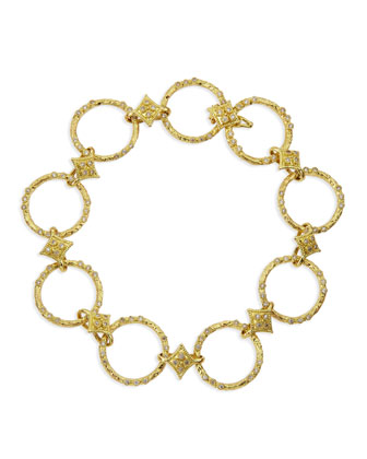 18k Yellow Gold Circle Link & Diamond Bracelet