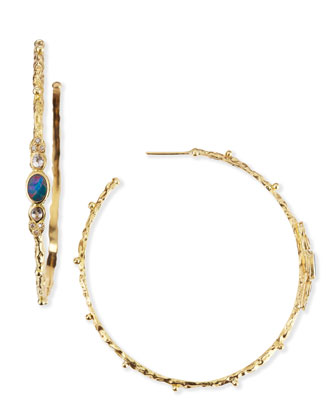 Sculpted 18k Opal Diamond Sapphire Hoop Earrings