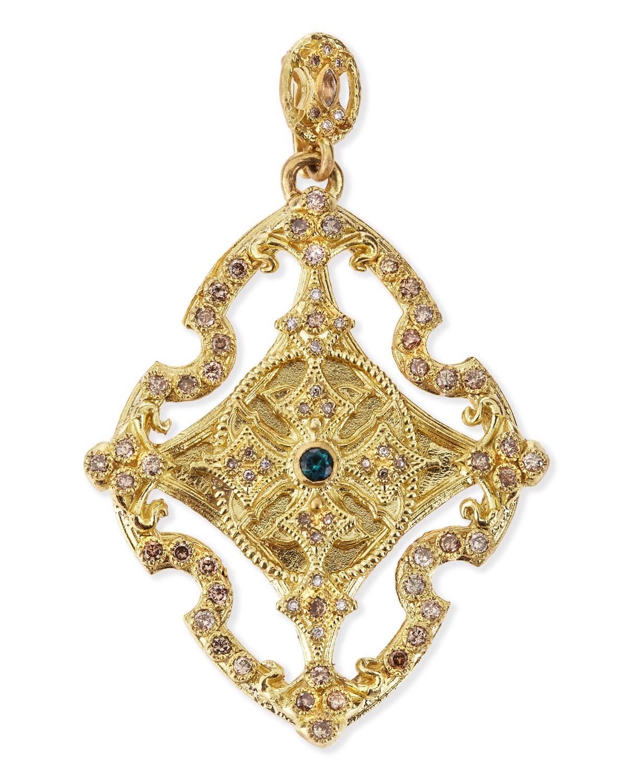 18k Yellow Gold & Diamond Cross Enhancer   Armenta   Gold (18k )