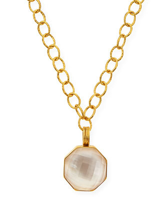Mother-of-Pearl Hexagon Pendant Necklace, 18