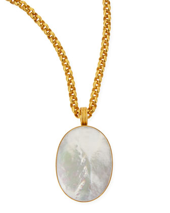Mother-of-Pearl Oval Pendant Necklace, 33