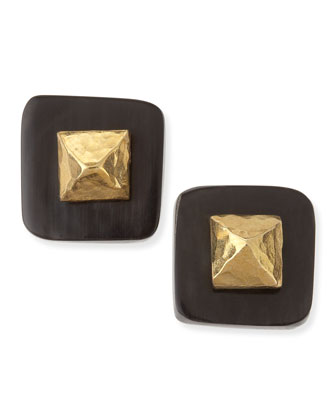 Shaba Dark Horn Bronze Pyramid Stud Earrings