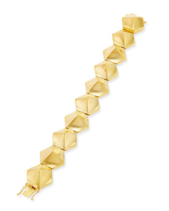 18k Gold-Plated Bent Pyramid Tennis Bracelet