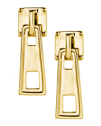 Yellow Gold Zipper Slide Stud Earrings