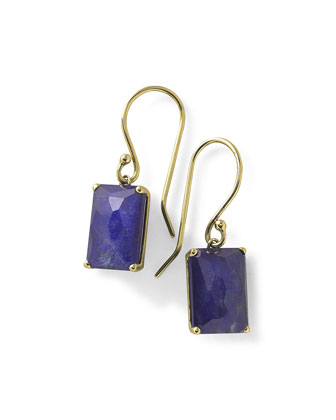 18k Gold Rock Candy Gelato Single Rectangle Drop Earrings, Rutilated ...