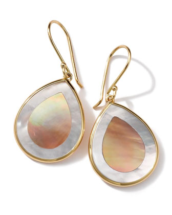 18K Gold Polished Rock Candy Mini Teardrop Earrings in Brown ...