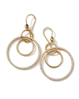 18K Gold Stardust Diamond Multi-Circle Earrings (0.75ctw)