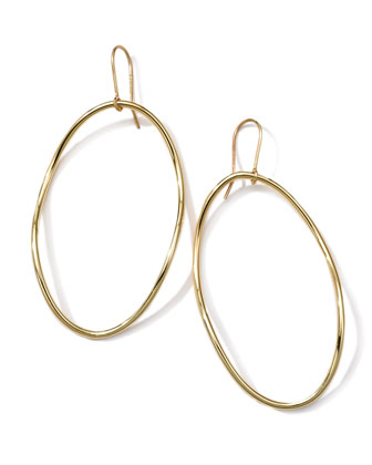 18k Gold Smooth Electroform Long Oval Earrings