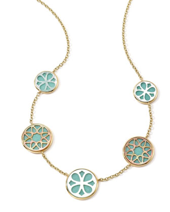 18K Gold Polished Rock Candy Cutout Stone 5-Station Necklace in Isola, ...