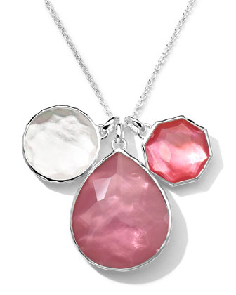 Sterling Silver Wonderland 3-Stone Pendant Necklace in Rio, 32