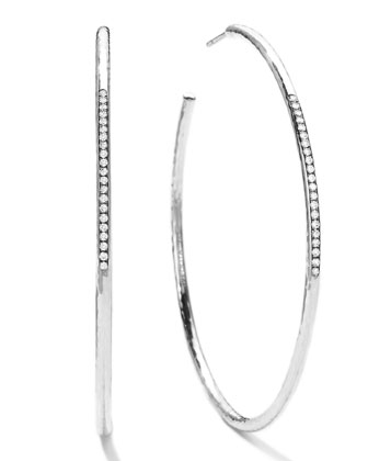 Sterling Silver #4 Hoop Earrings with Diamonds (0.25ctw)