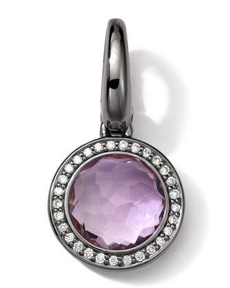 Black Sterling Silver Amethyst & Diamond Lollipop Charm