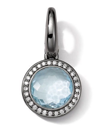 Black Sterling Silver Light Blue Topaz & Diamond Lollipop Charm