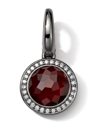 Black Sterling Silver Garnet & Diamond Lollipop Charm