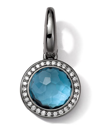 Black Sterling Silver London Blue Topaz & Diamond Lollipop Charm