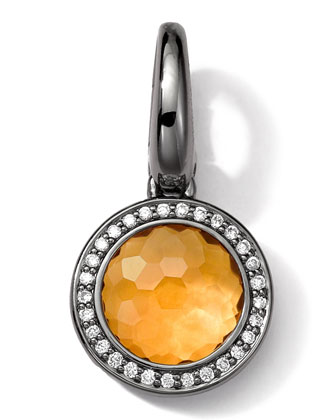 Black Sterling Silver Citrine & Diamond Lollipop Charm