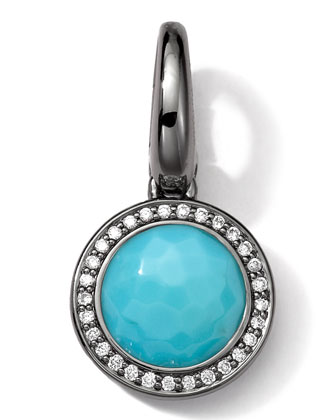 Black Sterling Silver Turquoise & Diamond Lollipop Charm