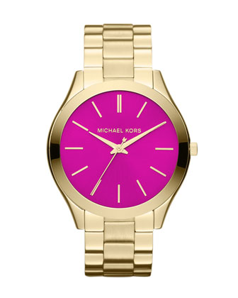 Mid-Size Golden/Pink Stainless Steel Runway Three-Hand Watch