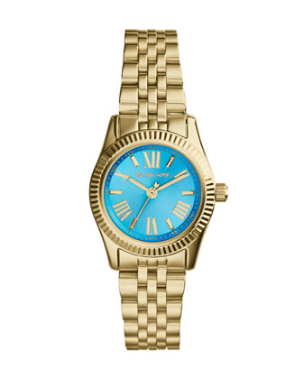 Petite Golden/Blue Stainless Steel Lexington Three-Hand Watch