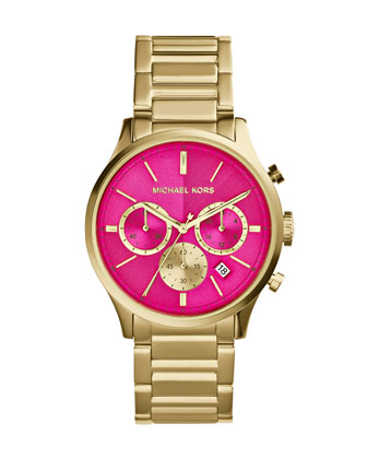 Mid-Size Golden/Pink Stainless Steel Bailey Chronograph Watch