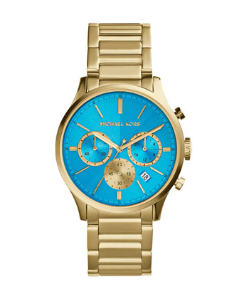 Mid-Size Golden/Blue Stainless Steel Bailey Chronograph Watch