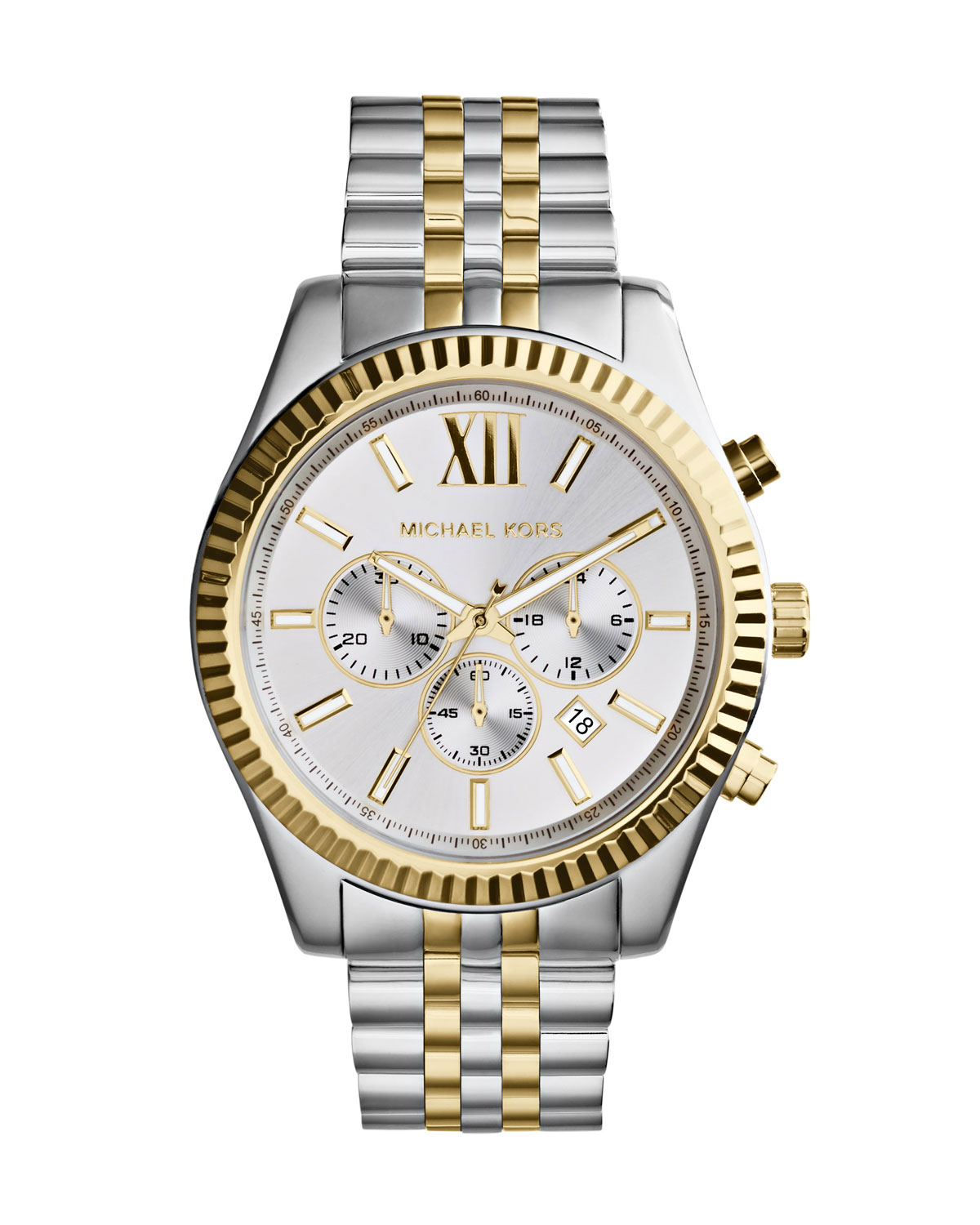 Mid-Size Two-Tone Stainless Steel Lexington Chronograph Watch - Michael Kors