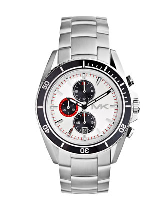 Oversize Silver Color Stainless Steel Lansing Chronograph Watch