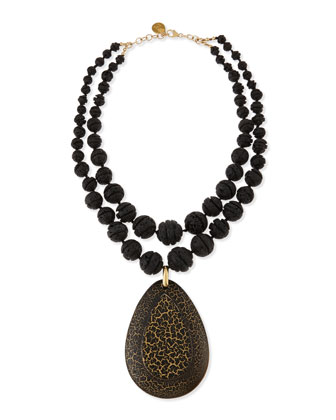 Double-Strand Carved Lava Bead & Wood Pendant Necklace, 21