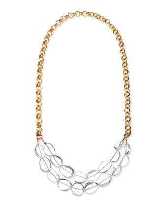 Long Clear Quartz & 24k Gold Plate Necklace, 38
