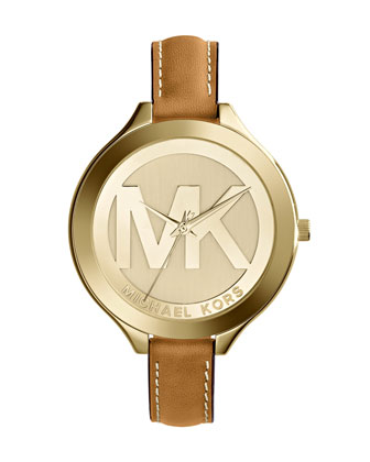 Mid-Size Golden Stainless Steel Slim Runway Three-Hand Watch