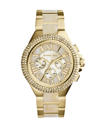 Mid-Size Golden Stainless Steel/Horn Camille Chronograph Glitz Watch