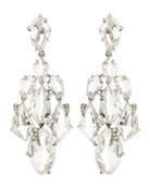 Clear Quartz & Claw Diamond Chandelier Earrings
