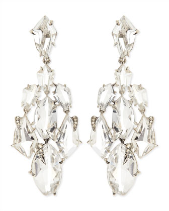 Clear Quartz & Claw Diamond Chandelier Earrings