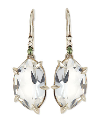 Quartz Drop Earrings with Claw Sapphires & Diamonds