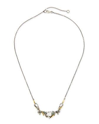 Marquis Quartz, Diamond & Sapphire Cluster Necklace