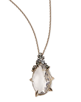 Quartz Teardrop Pendant Necklace with Claw Diamonds