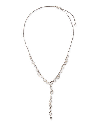Quartz Y-Drop Necklace with Claw Diamonds