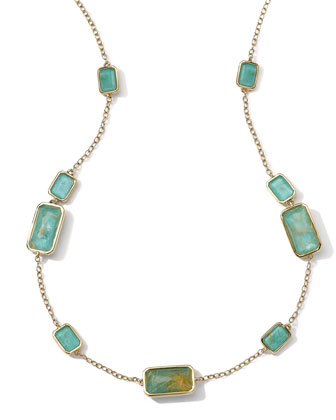 18k Gold Rock Candy Gelato 9-Stone Rectangle Necklace, Rutilated ...