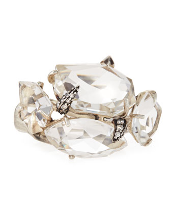 Clear Quartz & White Diamond Cluster Ring