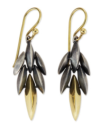 Mini Cascade Drop Earrings, Black/Gold
