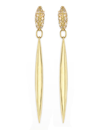 Diamond & 18k Honey Gold Marquis Spike Drop Earrings