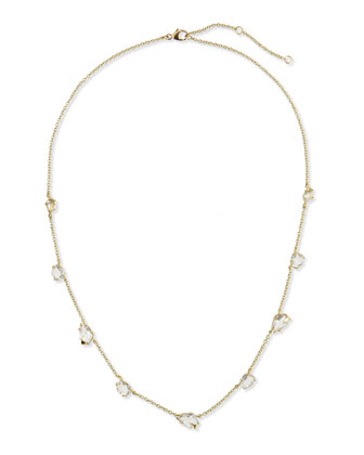 18k Gold Quartz Station Necklace, 18