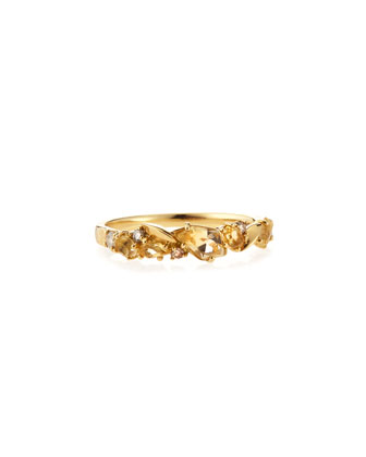 Citrine & Diamond Cluster Band Ring
